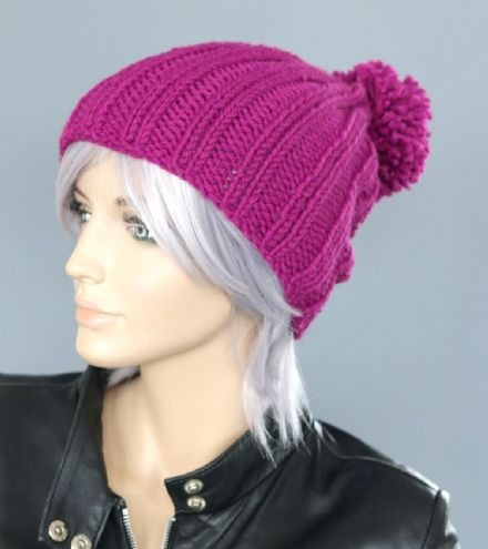 Slouchy beanie hat in Raspberry Pink